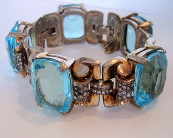 Sterling Bracelet, pave set rhinestones and 20 x 24 mm Aqua Cushion Cut Crystals