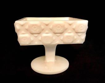 Quilt Pattern Milk Glass Candy Dish   GC2978