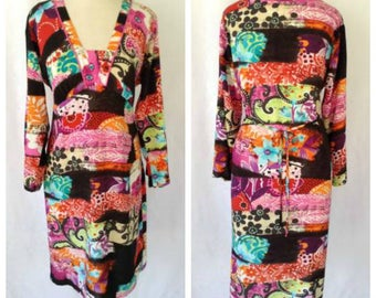 "HECK YEAH FASHIONS: Jams World (""Collector's Edition""), Sumi-E Abstract Floral Print Summer Dress, Long Sleeve, Back Tie"