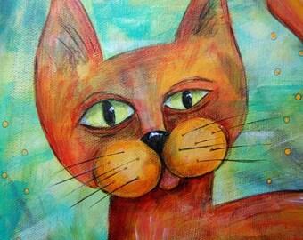 Squinty Cat 2 - Original Acrylic Painting