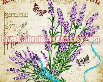 Lavender of Provence bead embroidery kit, embroidered beaded painting set, DIY wall decor, house warming gift idea