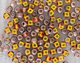 4/0 Czech Etched Capri Aged Yellow Brown Red Seed Beads, 18 Grams, Czech Etch Capri Aged Yellow Brown Red 4/0 Seed Beads, 5309