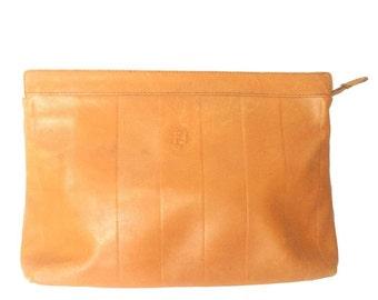 Vintage Fendi orange brown genuine leather mini document bag, clutch purse with embossed logo and epi mix. Classic unisex style Fendi purse