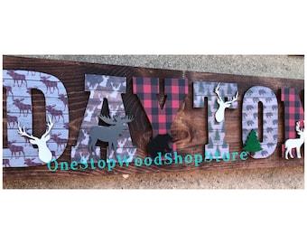Lumberjack nursery, lumberjack letters, woodland nursery, lumberjackdecor, pallet sign, deer, moose, woodland animals, nursery letters,