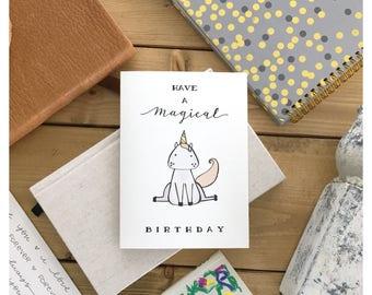 UNICORN // unicorn card, birthday card, magical birthday, funny birthday card, cute card, cute birthday card, unicorn gift, magical, card