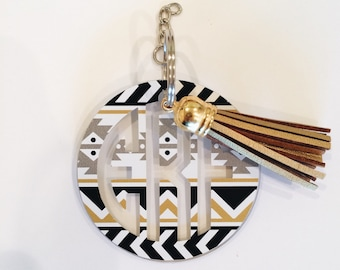 Black and Gold Tribal Monogram Keychain with Tassel