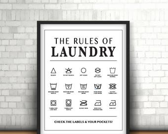 The Rules of Laundry   Laundry Room Wall Art   8 x 10