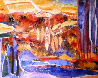 Mojave  Memories  - Original Abstract art ,  Watercolour and collage