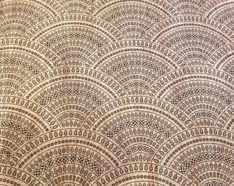 TRIBAL ARCHES  Print Cork fabric (U.S.A Supplier) - Made in Portugal - Vegan - Sustainable - Leather Alternative - PETA approved