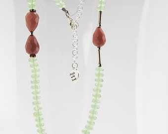 Lime green crystal short necklace with mauve color beads