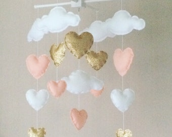 Baby mobile - Cot mobile - clouds and hearts - Cloud Mobile - Baby girl mobile - Gold and pale coral - Nursery Decor