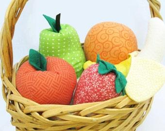 Play Fruit Set Cotton Food; apple, pear, orange, banana, strawberry - FREE U.S. SHIPPING