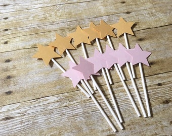 Star Cupcake Toppers - twinkle twinkle little star Toppers - One Star Toppers -- First birthday toppers-- star party toppers!