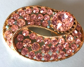 BSK Pink Rhinestones Oval Brooch With Turquoise Highlight Beads