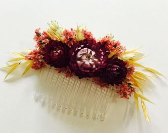 Dried flower hair comb | pink & gold | wedding/bridal hair slide