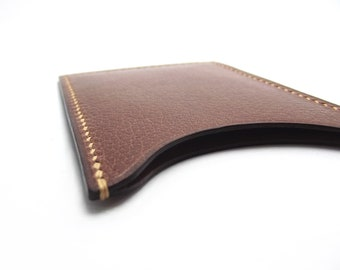 Leather Card Case, Slim, Small, Brown leather card holder, Minimalist Wallet, Business Card Case, ID, Compact, Simple, Mens Gift