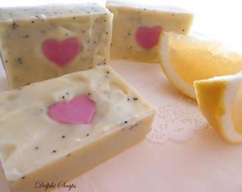 Bellini grapefruit heart Soap-Grapefruit Jasmine soap-shea butter spa soap-citrus floral exotic soap-cold processed soap- heart soap gift