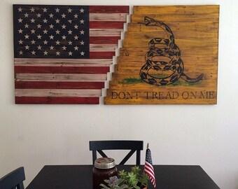 Planked Wood American/Gadsden Flag Wall Art