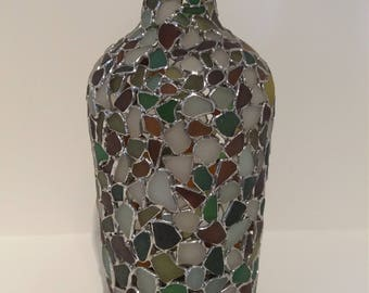 Sea Glass Vase, Large Multi-coloured Vase, Made With Isle Of Wight Seaglass.