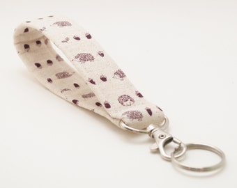 Hedgehog Keychain, Fabric Key Fob With Snap, Linen