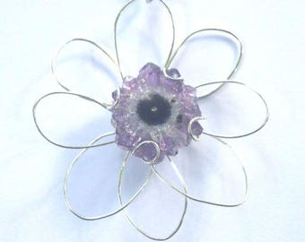 Amethyst Stalactite Crystal Slice center of a Wire Flower