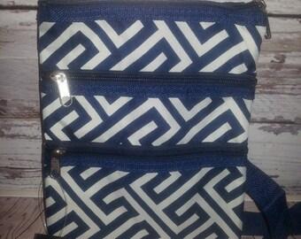 Geometric side bag  Navy white