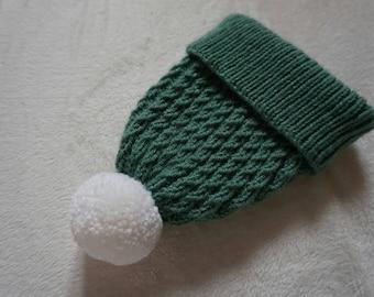 Pom Pom Adult Winter hat. Blue winter hat with white pom pom. Handknitted in aran yarn
