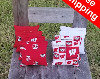 "FREE SHIPPING! Wisconsin Badger set of 8 corn hole bags, top notch quality: 6"" regulation size!"