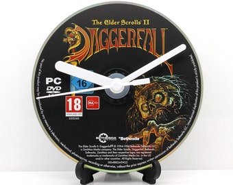Daggerfall The Elder Scrolls II PC Upcycled CD Clock Video Game Gift Idea