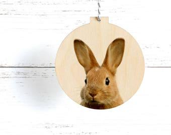 Woodland Animal Christmas Ornament, Eco Friendly Bunny Decoration, Wooden Animal Ornament, Modern Rustic Decoration, Wooden Rabbit Ornament,