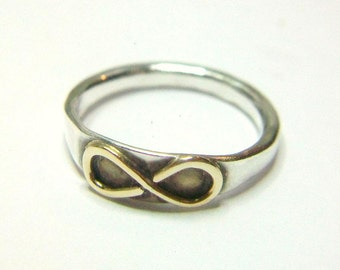 Infinity Ring 14K Gold Hammered Sterling Darkened Oxidized Stackable
