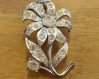 Sparkly Paste Rhinestone Flower Brooch