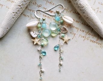 Beach Gemstone Earrings, Blue Green Beach Earrings, Starfish Dangle, Beach Cluster Dangle