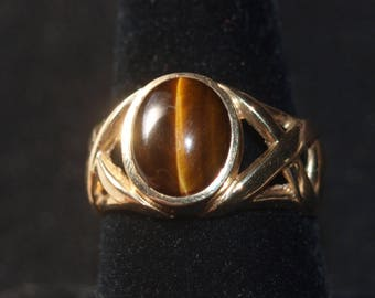 Men's Tiger Eye Gold Ring