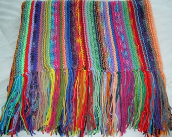 Knitted Afghan Blanket Throw Brightly Colored Lush Fringes