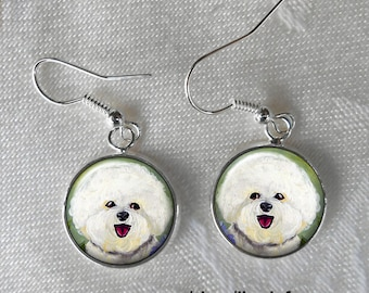 Bichon Frise Drop Earrings ~ Girlfriend Gift ~ April Birthday ~ Pet Keepsakes ~ Bichon Jewelry