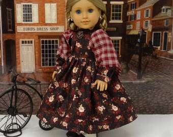 Mid-Winter Gathering - Civil War or Prairie dress for American Girl doll with undergarments and boots