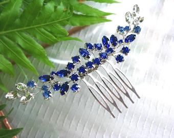 Cobalt Blue Wedding hair vine, blue bridal hair comb, blue hair accessories for wedding, blue crystal hair comb, blue bridal head piece