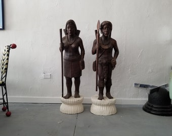 "Vintage  Hand Carved  Wood "" His And Hers "" Primitive Human Figures Floor Sculptures A Pair."