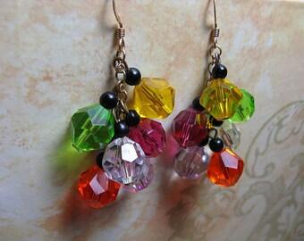 Rainbow Earrings, Colorful 80s Jewelry, Fun Multicolor Whimsical, Vintage Earrings, Beaded Earrings, Disco 1980s
