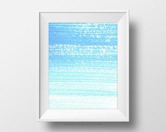 SALE -  Abstract Paint Brush, Paint Stroke, Modern Abstract Fine Wall Art, Blue Ombre, Blue Watercolor, Baby Boy Nursery, Dorm, Ocean
