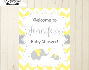 Yellow baby shower welcome sign elephant yellow chevron welcome sign printable elephant yellow and grey baby shower welcome sign 104