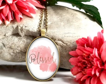 Blessed- Pink And Gold-Large Oval- Glass Bubble Pendant Necklace