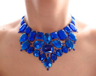 Royal Blue Rhinestone Bib Necklace, Blue Jeweled Rhinestone Statement Necklace, Blue Bridesmaid Necklace, Blue Statement Necklace