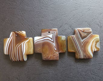 AS PICTURED- 3pcs Large Coffee Brown Stripe Agate Cross Pendant 42x42mm- top drilled