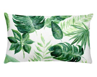 Tropical Leaf Rectangular Pillow, tropical leaf pillow, palm leaves pillow, tropical leaves, palm leaf pillow, green throw pillow