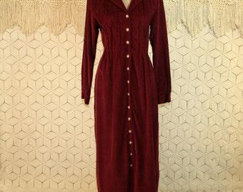 Purple Corduroy Maxi Dress Medium Long Sleeve Button Up Winter Dress Cotton Casual Prairie Grunge Dress Plum Womens Dresses Womens Clothing