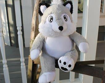 Personalized Wolf, Plush Wolf, Birth Announcement, Preschool Graduation, Newborn Gift, Kindergarten Gift, Prom, Woodland Nursery Decor