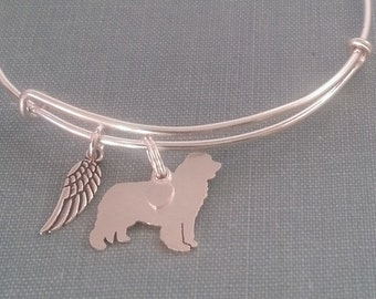 Newfoundland Dog Adjustable Bangle Bracelet, 925 Sterling Silver Personalize Pendant Breed Charm Rescue pet memorial jewelry