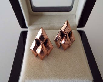 Vintage 1950's Renoir Copper Earrings Clip On Earrings Clips Modernist Brutalist